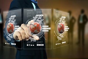 Smart hand showing futuristic technology