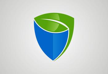 Shield ecology leaf logo vecor
