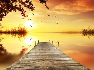 Fantasia dorada en el lago al amanecer