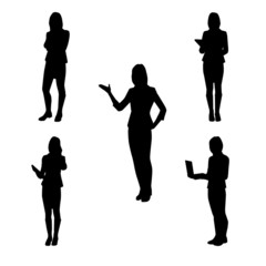 Collection of vector silhouettes of women at work - at school, a