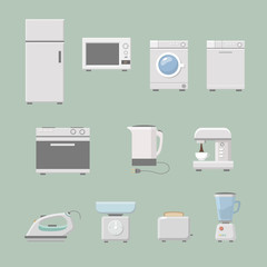 Set of kitchen appliances flat icons  with a washing machine