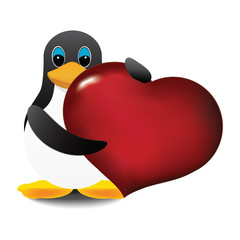 pinguin and heart