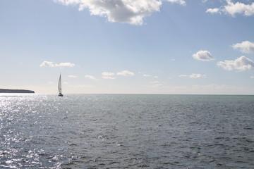 beautiful sea with yacht