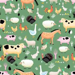 bright pattern of farm animals