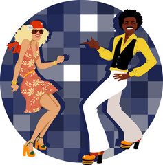 Fototapete - Couple dressed in 1970s fashion dancing disco