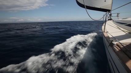 Fototapete - Boat in sailing regatta. Luxury yachts. Set movements.