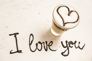 Love coffee cup and handwriting. I love you. Creative