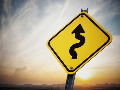 Curves ahead road sign