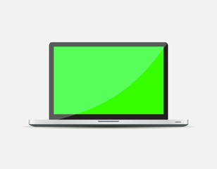 Realistic Open Laptop with green blank screen