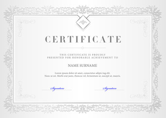 Vector illustration of silver detailed certificate