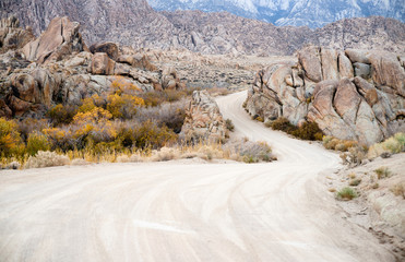 Dirt Road into Alabama Hills Sierra Nevada Range California