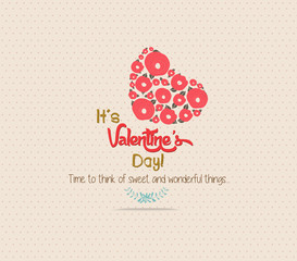 Valentine's Day greeting card with heart flower
