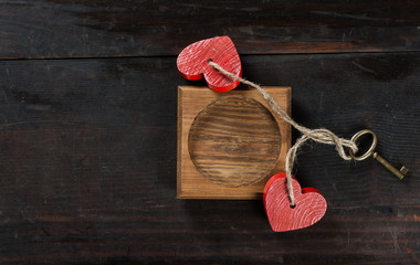 frame with hearts and key for Valentine's day