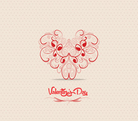 Valentines day card with heart ornament