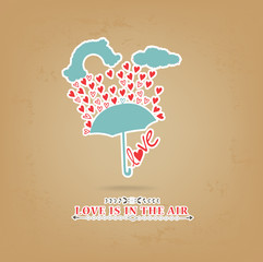 valentines day romantic with umbrella greeting card