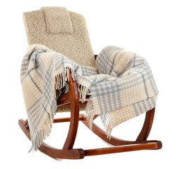 Modern rocking-chair with rug isolated on white