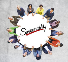 Aerial View People Sustainability Green Business Concept
