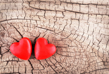 Hearts on Wooden Texture. Valentines Day background