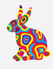 Rabbit abstract colorfully, art vector illustration