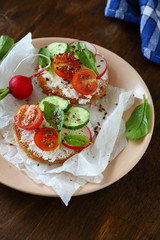 Bruschetta with tomatoes, cucumbers and basil