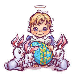 Vector illustration of cartoon cute angel ant sweet rabbits
