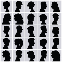 Profiles with different hairstyles. Avatars.