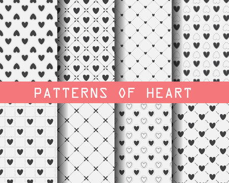 black and white heart seamless patterns