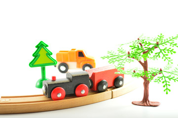 Train and truck, crane. Toys for children.