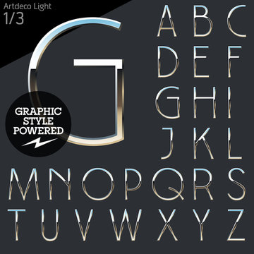 Silver chrome and aluminum vector alphabet set. Artdeco