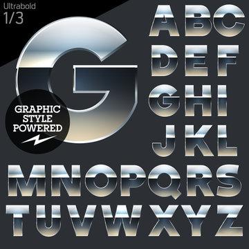 Silver chrome and aluminum vector alphabet set. Bold