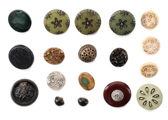 Various sewing buttons isolated on white