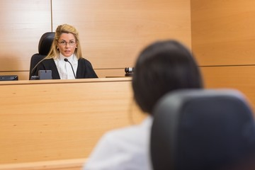 Lawyer listening to the judge
