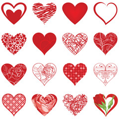 Set of various vector hearts
