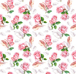Seamless pattern - pink rose flowers and feathers. Watercolor