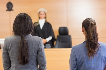 Lawyers listening to the judge