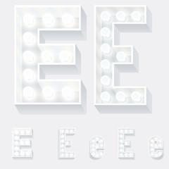 Unusual white lamp alphabet for light board. Letter e