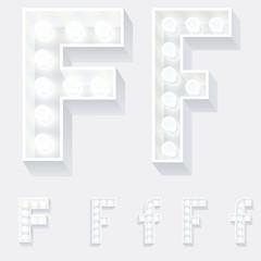 Unusual white lamp alphabet for light board. Letter f