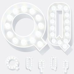 Unusual white lamp alphabet for light board. Letter q