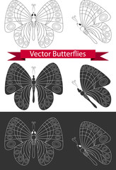 set of icons butterfly. Vector