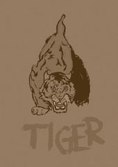 Aggressive tiger vintage