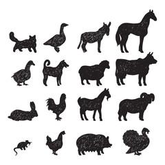 Farm animals black silhouettes