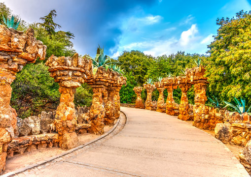 strange construction in the park Guell at Barcelona Spain. HDR