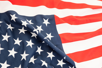 Close up of the flag of the United States. Lying flag of the gre