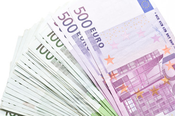 Stack of money euro bills banknotes. Euro currency from Europe