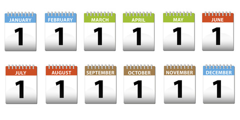 Set of calendars with months
