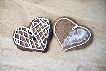 Gingerbread cookies with icing heart shaped