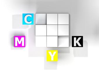 CMYK-Würfel mit Schrift von oben