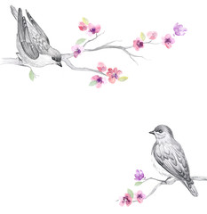 Graphic background with cute birds and flowers