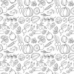 Fruit and Vegetables Hand Drawn Seamless