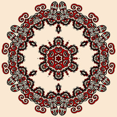 Round mandala in red and loght brown color. Vintage asian